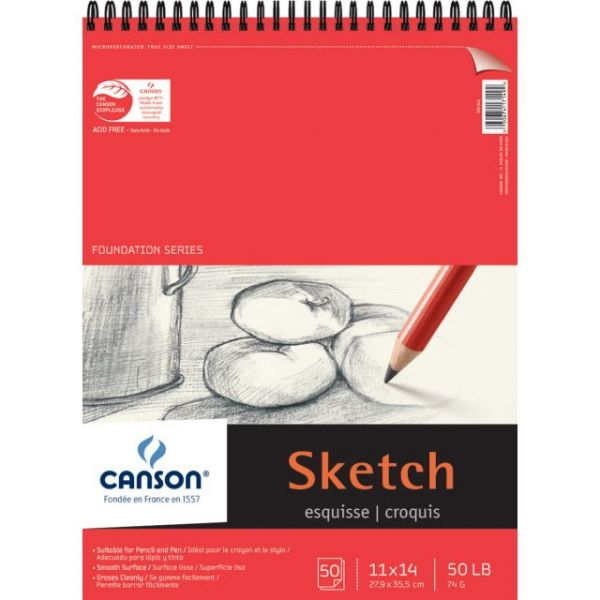 "Canson Foundation Series Spiral Sketch Paper Pad 11""X14"""