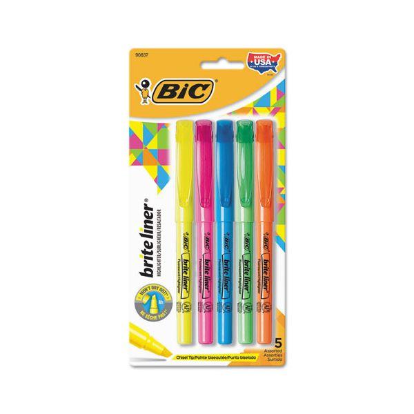 BIC Brite Liner Highlighter, Chisel Tip, Assorted Colors, 5/Set