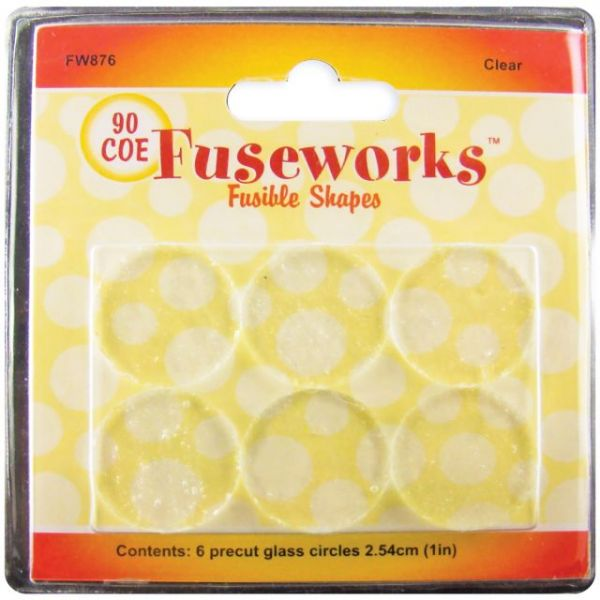 "Fuseworks Fusible Glass Shapes Round 1"" 6/Pkg"