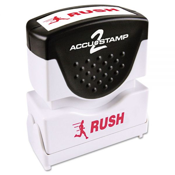 ACCUSTAMP2 Pre-Inked Shutter Stamp with Microban, Red, RUSH, 1 5/8 x 1/2