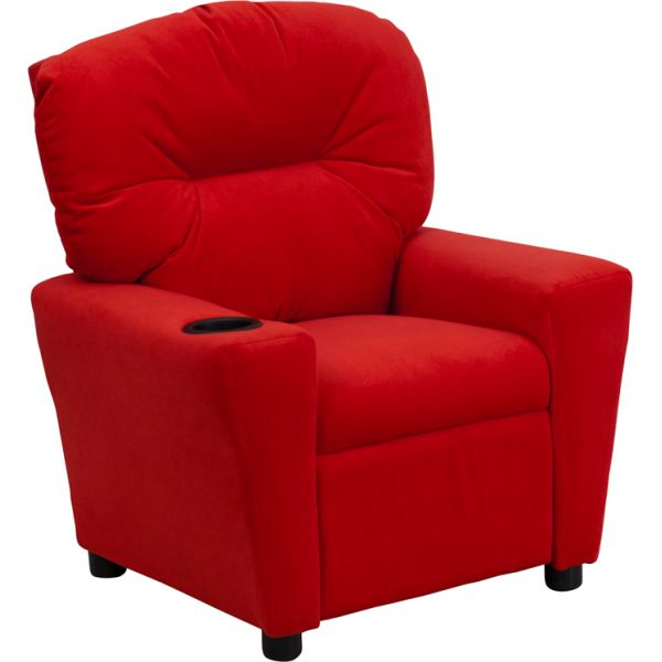 Flash Furniture Contemporary Red Microfiber Kids Recliner with Cup Holder