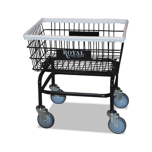Royal Basket Trucks Small Wire Laundry Cart, 21 x 26 x 26 1/2, 200 lbs. Capacity, Black