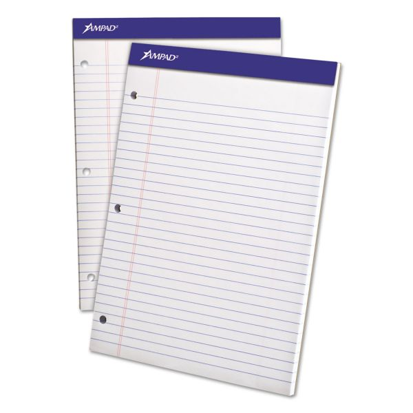 Ampad Double Sheets Pad, Legal/Wide, 8 1/2 x 11 3/4, White, 100 Sheets