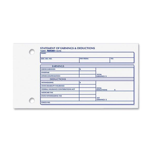 Rediform Statement of Earnings/Deductions Forms