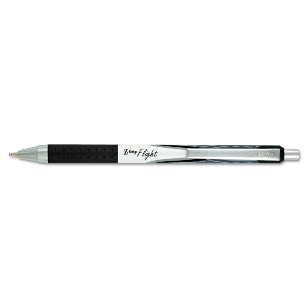 Zebra Z-Grip Flight Retractable Ballpoint Pen, 1.2 mm, Bold, Black, Dozen