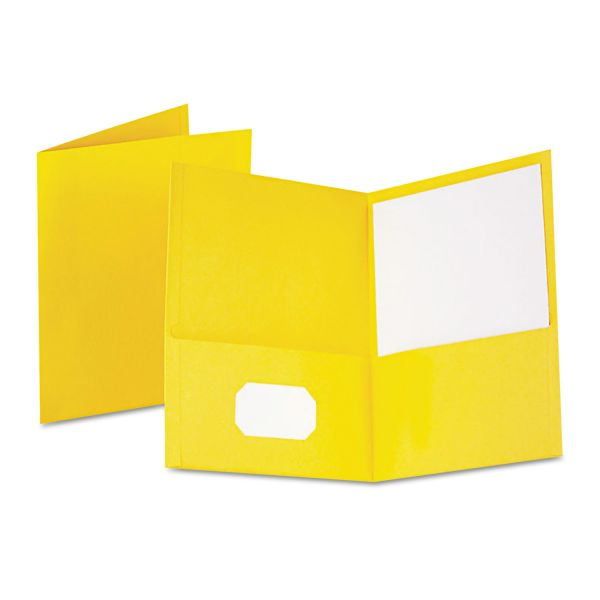 Oxford Twin-Pocket Folder, 100-Sheet Capacity, Yellow, 25/Box