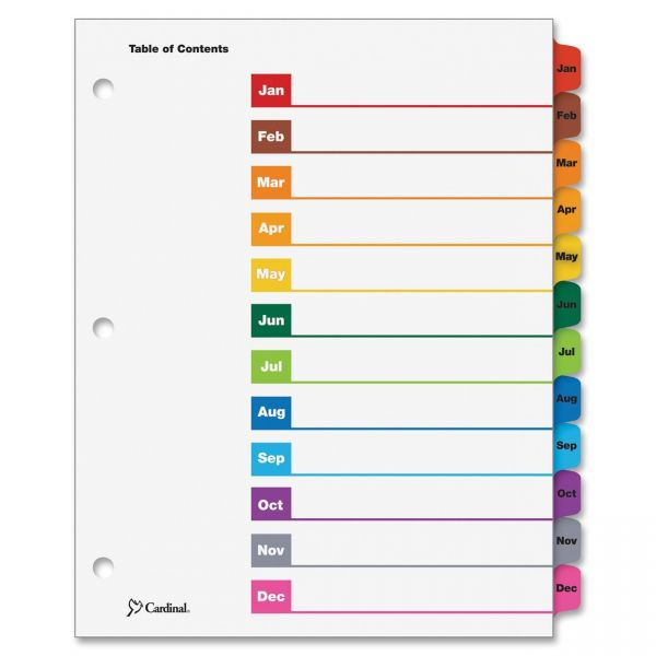 Cardinal OneStep Printable 12-Tab Monthly Dividers With Table Of Contents Page