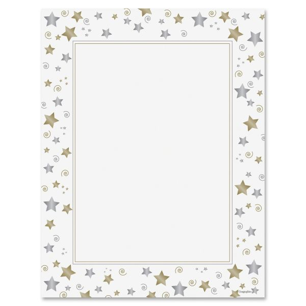 Geographics Stars & Swirls Foil Certificate Paper