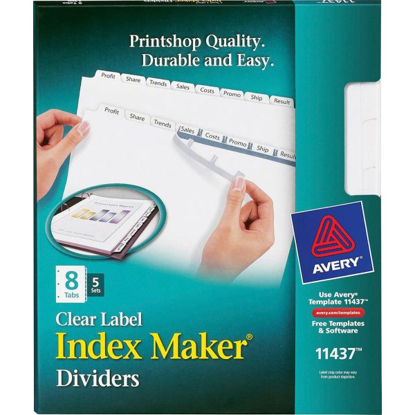 Avery Print & Apply Clear Label Dividers, 8-Tab, White Tab, Letter, 5 Sets