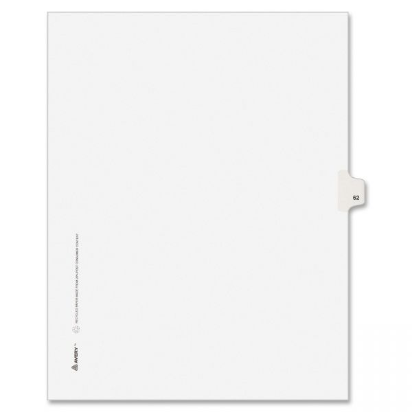 Avery-Style Legal Exhibit Side Tab Divider, Title: 62, Letter, White, 25/Pack