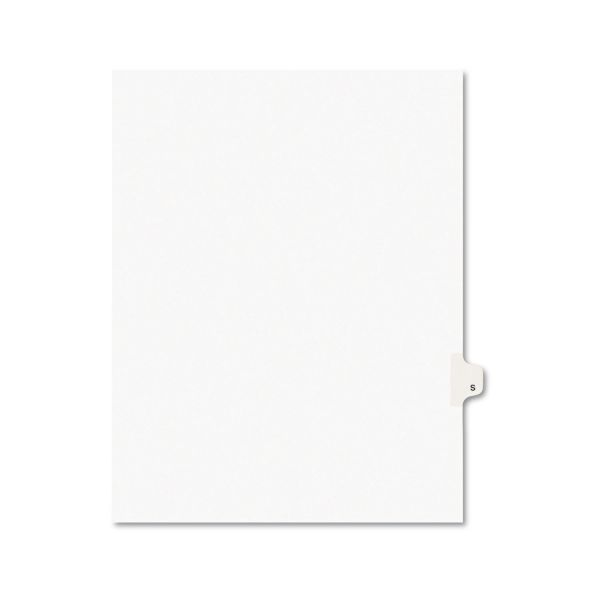 Avery Avery-Style Legal Exhibit Side Tab Dividers, 1-Tab, Title S, Ltr, White, 25/PK