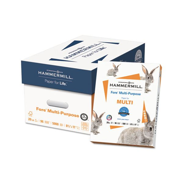 Hammermill Fore MP Multipurpose Paper, 96 Brightness, 20 lb, 8 1/2 x 11, White, 5000 Sheets/Carton