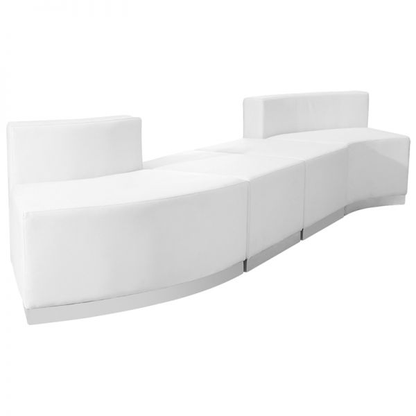 Flash Furniture HERCULES Alon Series Melrose White Leather Reception Configuration, 4 Pieces