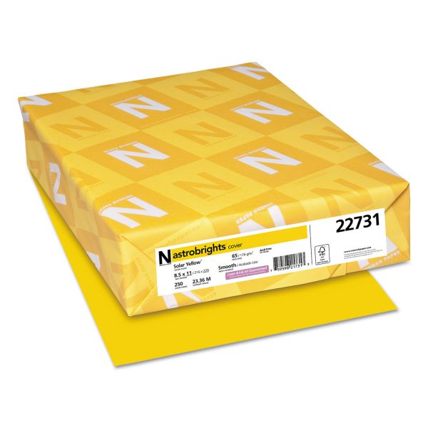 Astrobrights Color Cardstock, 65lb, 8 1/2 x 11, Smooth, Solar Yellow, 250 Sheets