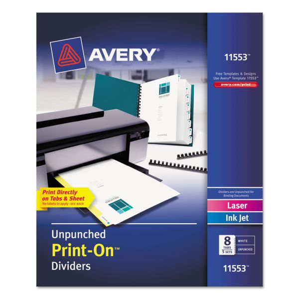 Avery Print-On 8-Tab Dividers