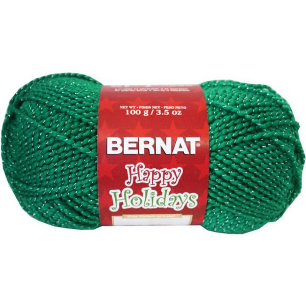 Bernat Happy Holidays Sparkle Yarn - Glittery Green
