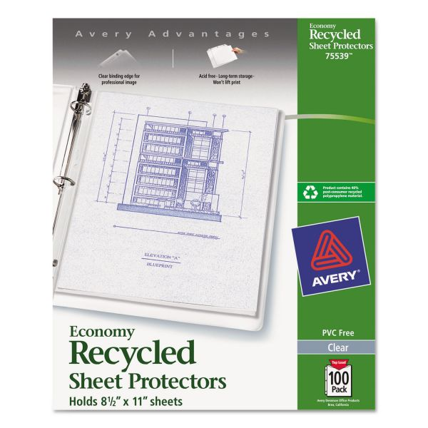 Avery Top-Load Recycled Polypropylene Sheet Protector, Letter, Economy, Clear, 100/Box