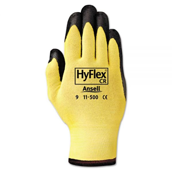 AnsellPro HyFlex Ultra Lightweight Assembly Gloves, Black/Yellow, Size 10, 12 Pairs