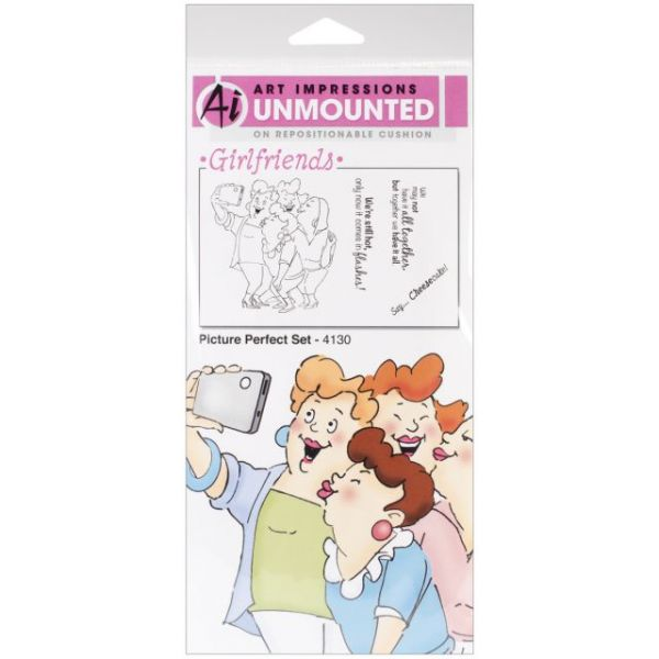 "Art Impressions Girlfriends Cling Rubber Stamps 10""X4.5"""