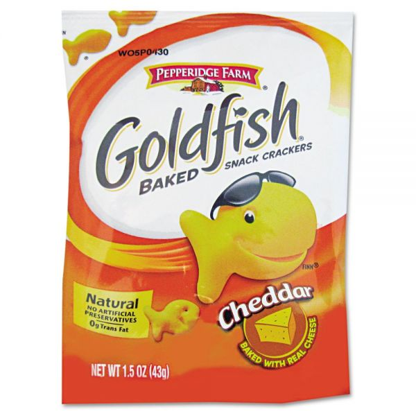 Pepperidge Farm Goldfish Crackers, Cheddar, Single-Serve Snack, 1.5oz Bag, 72/Carton