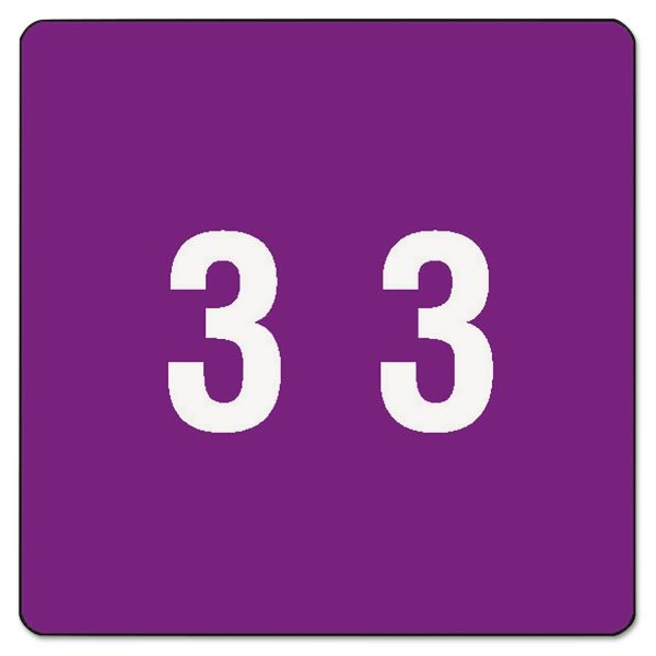 Smead Single Digit End Tab Labels, Number 3, Purple, 250/Roll