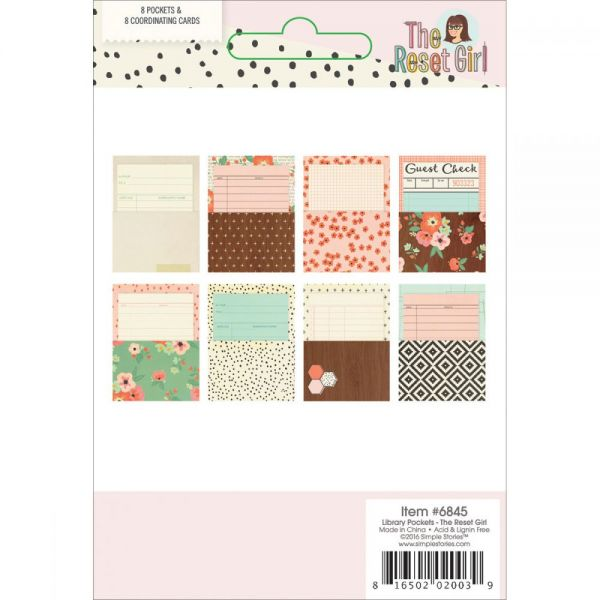 The Reset Girl Library Pockets W/Cards 8/Pkg