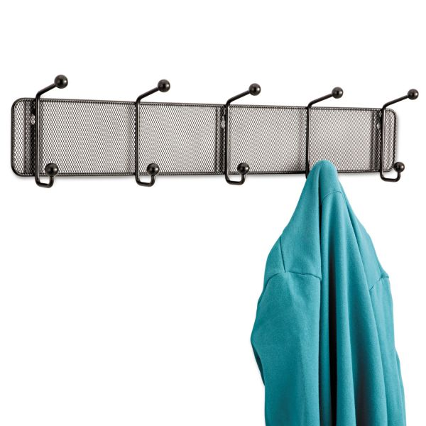 Safco Onyx Mesh Wall Racks, 5 Hook, Steel