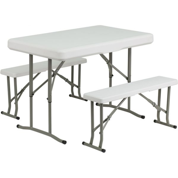 Flash Furniture Plastic Folding Table and Benches