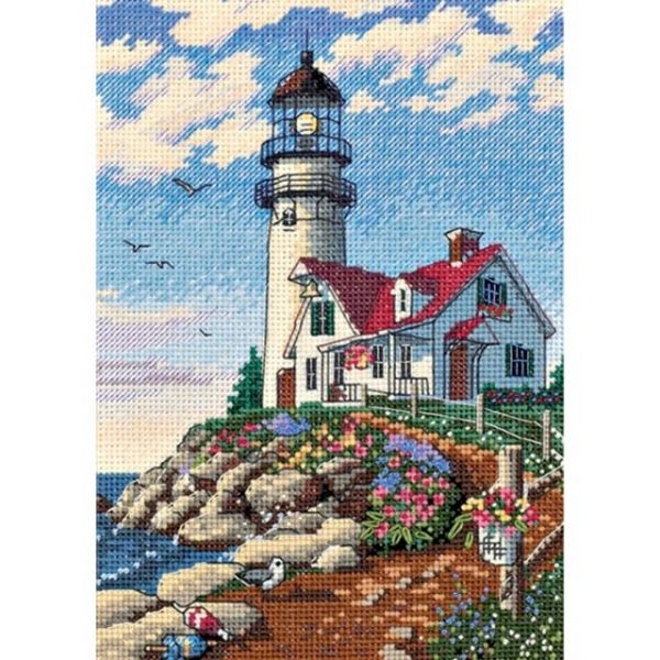 Gold Petite Beacon At Rocky Point Counted Cross Stitch Kit