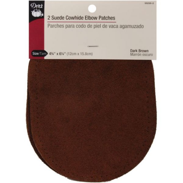 "Suede Cowhide Elbow Patches 4-3/4""X6-5/8"" 2/Pkg"