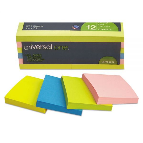 "Universal One 3"" x 3"" Adhesive Note Pads"