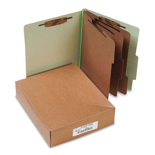 ACCO Pressboard 25-Pt Classification Folders, Letter, 8-Section, Leaf Green, 10/Box