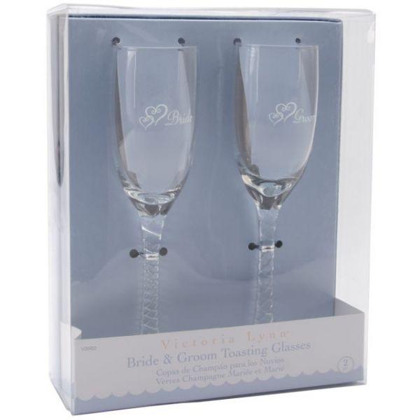 "Bride & Groom Champagne Glasses 8"""