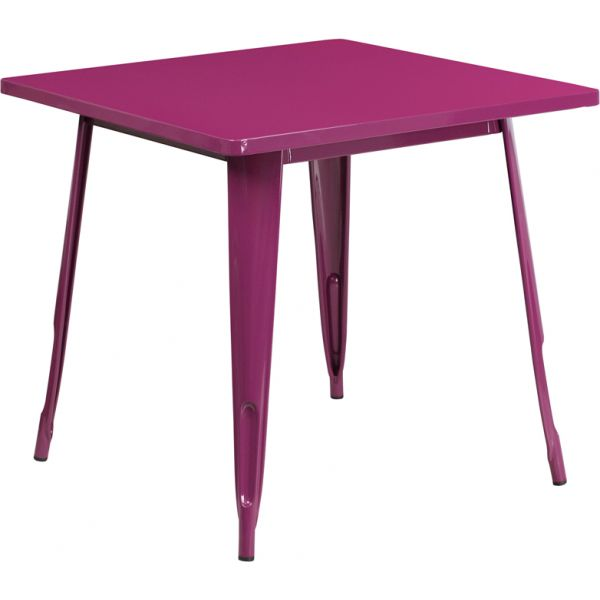 Flash Furniture 31.5'' Square Purple Metal Indoor-Outdoor Table