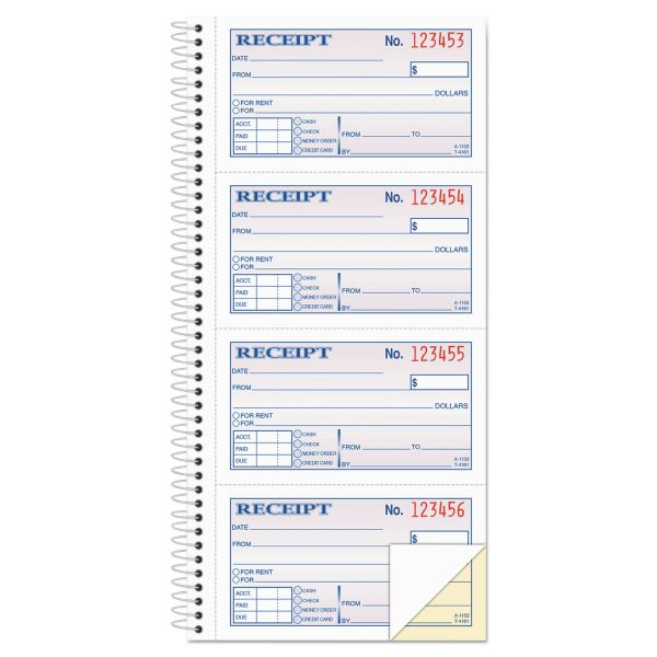 Adams Two-Part Rent Receipt Book, 2 3/4 x 4 3/4, Carbonless, 200 Forms