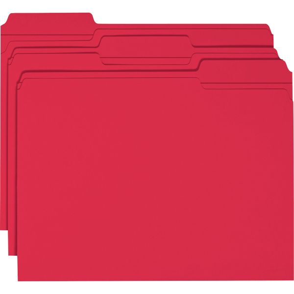 Smead Red Colored File Folders with Reinforced Tab