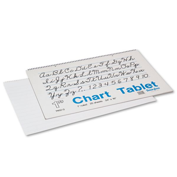 Pacon Chart Tablets w/Cursive Cover, Ruled, 24 x 16, White, 25 Sheets