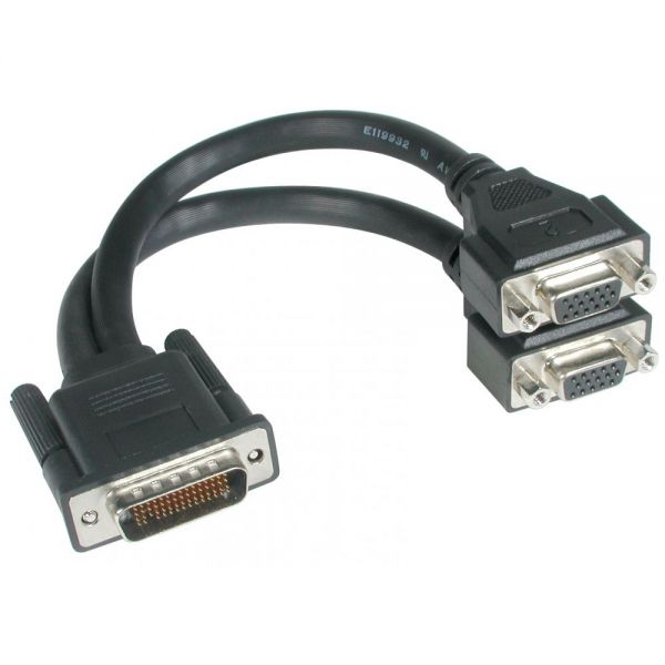 C2G 9in One LFH-59 (DMS-59) Male to Two HD15 VGA Female Cable