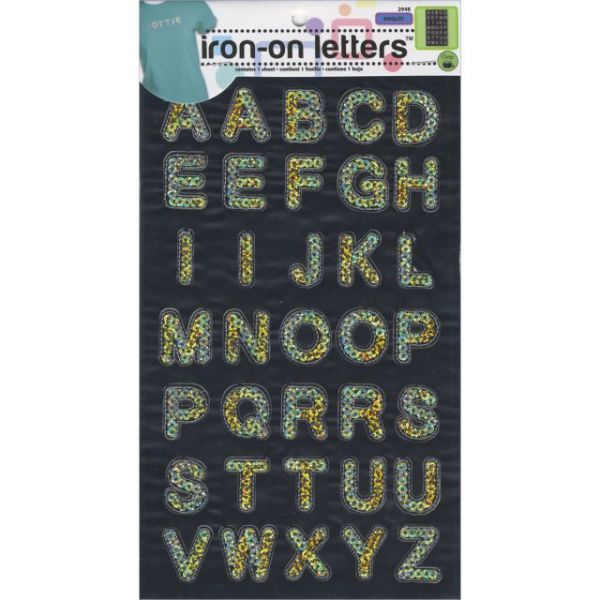 "Iron-On Sequin Letters 1"" Block"