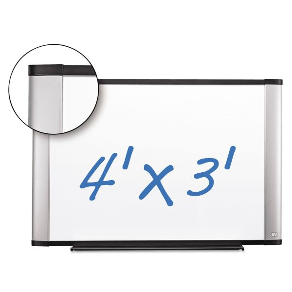 3M Porcelain Dry Erase Board, 48 x 36, Widescreen Aluminum Frame
