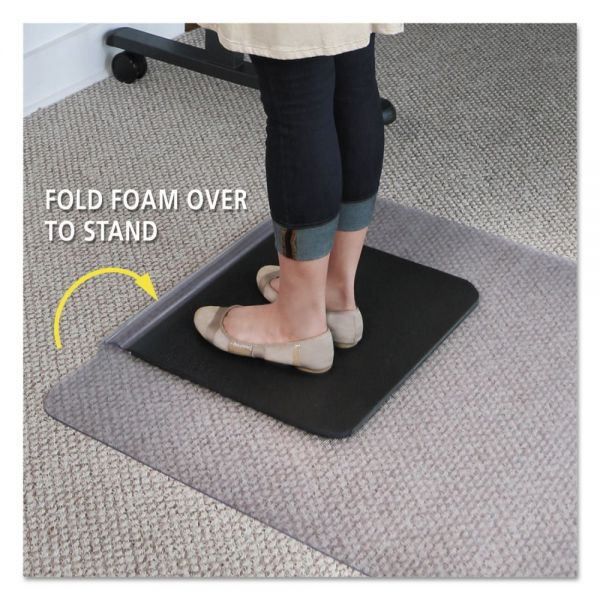ES Robbins Sit or Stand Mat for Carpet or Hard Floors, 36 x 53 with Lip, Clear/Black