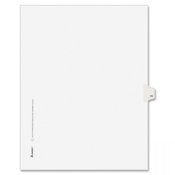 Avery Allstate-Style Legal Exhibit Side Tab Divider, Title: 14, Letter, White, 25/Pack