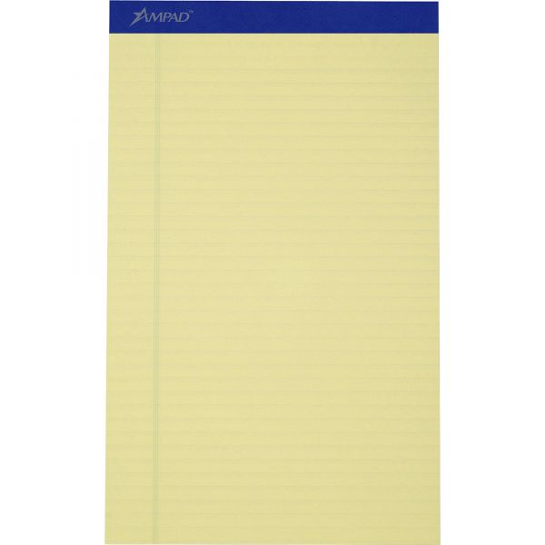 Ampad Recycled Writing Pads, 8 1/2 x 14, Canary, 50 Sheets, Dozen