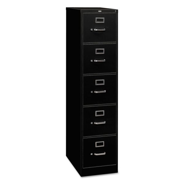 HON 310 Series Five-Drawer, Full-Suspension File, Legal, 26-1/2d, Black