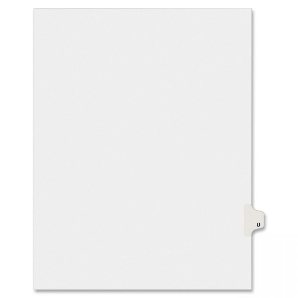 Avery-Style Legal Exhibit Side Tab Dividers, 1-Tab, Title U, Ltr, White, 25/PK