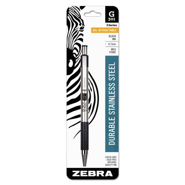 Zebra G301 Roller Ball Retractable Gel Pen, Black Ink, Medium