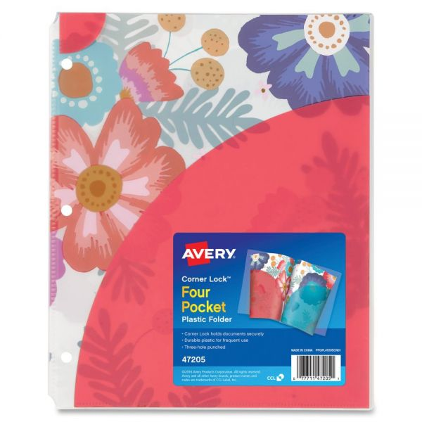 Avery Corner Lock Design Collection Four Pocket Plastic Folders