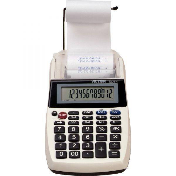 Victor 1205-4 12 Digit Portable Palm/Desktop Commercial Printing Calculator