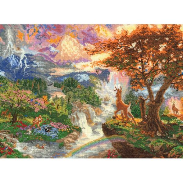 Disney Dreams Collection By Thomas Kinkade Bambi's 1st Year Cross Stitch Kit