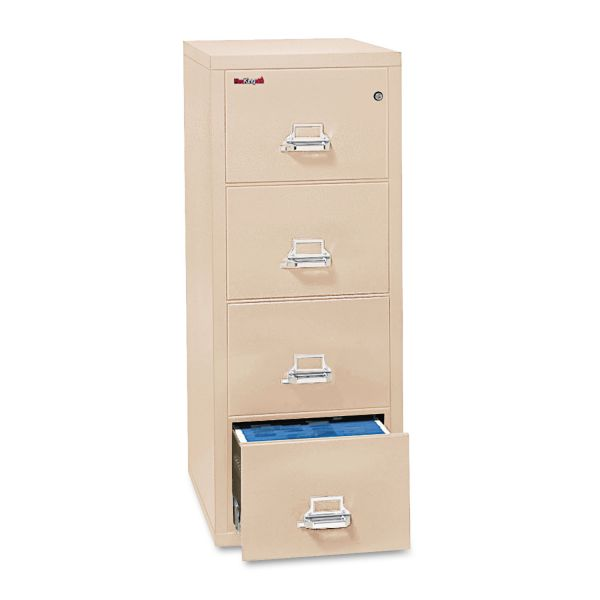 FireKing Four-Drawer Vertical File, 17 3/4 x 31 9/16, UL 350° for Fire, Letter, Parchment